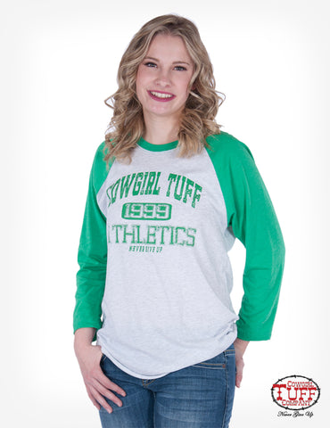 b388be16 Cowgirl Tuff Womens Green/White Polyester T-Shirt Baseball Athletics L/S