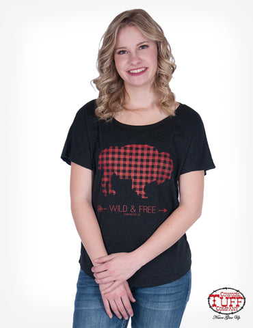 Cowgirl Tuff Womens Black Polyester T-Shirt Plaid Buffalo S/S