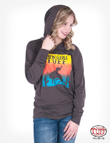 Cowgirl Tuff Womens Brown Polyester Hoodie Bronc Sunset