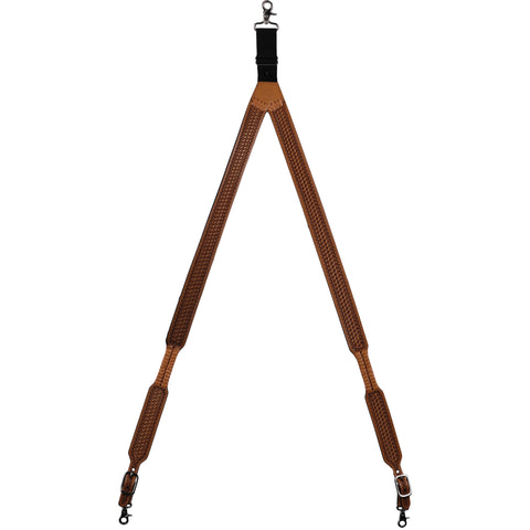 3D Natural Leather Suspenders Basketweave Hand Tooled
