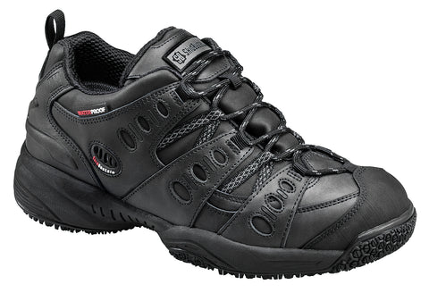Skidbuster Mens Slip Resistant Waterproof Athletic M Black Leather Shoes