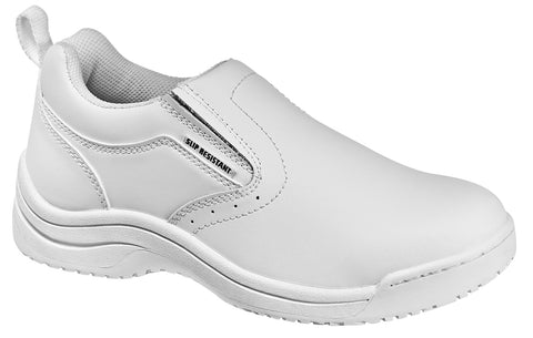 Skidbuster Womens Slip Resistant Slip On W White Action Leather Shoes