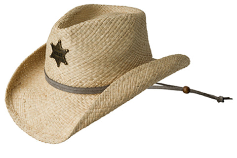 Eddy Bros Sheriff Natural Unisex Kids Straw Western Hat Pinch Front