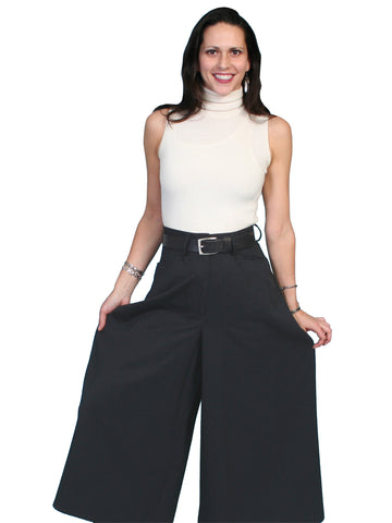 Scully Western Womens Black Polyester Split Skirt Riding Pants