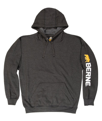 Berne Mens Charcoal Cotton Blend Pullover Hooded Sweatshirt