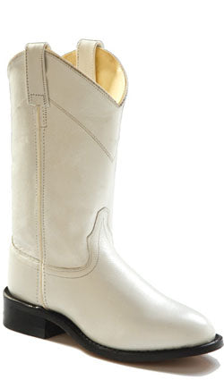 Old West White Womens Corona Calf Leather Roper Toe Pull-On Cowboy Boots