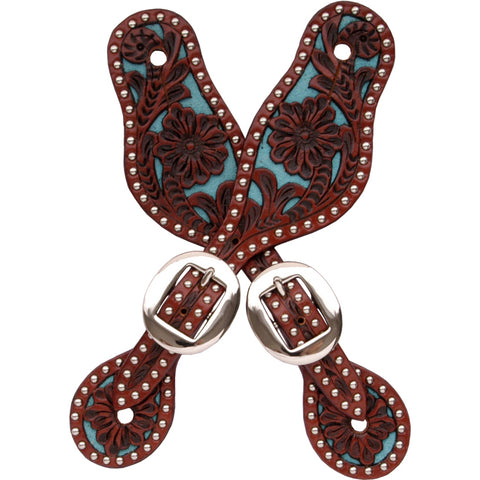 3D Tan Turquoise Leather Womens Spur Straps Floral Tooled Inlay