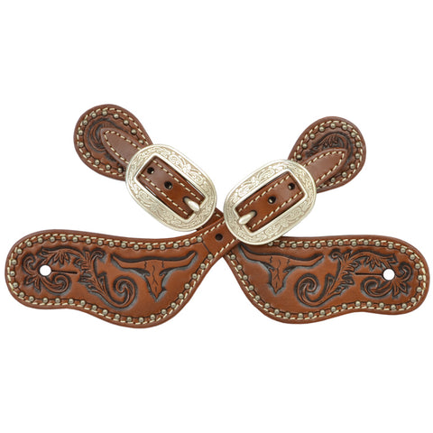 3D Brown Leather Small Spur Straps Tooled Longhorn