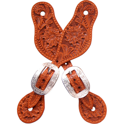 3D Natural Leather Small Spur Straps Floral Tooled Silver Buckles