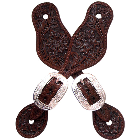 3D Chocolate Leather Small Spur Straps Floral Tooled Silver Buckles