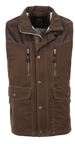 STS Ranchwear Mens Frisco Cotton Blend Twill Vest Brown