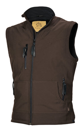 STS Ranchwear Mens Barrier Polyester Softshell Vest Brown WR