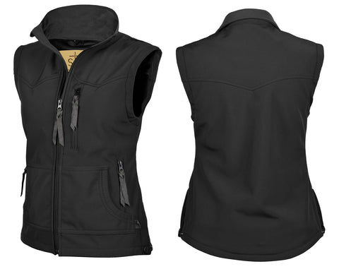 STS Ranchwear Ladies Barrier Polyester Softshell Vest Black WR