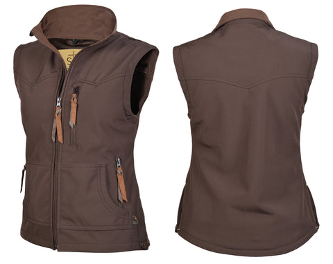 STS Ranchwear Ladies Barrier Polyester Softshell Vest Brown WR