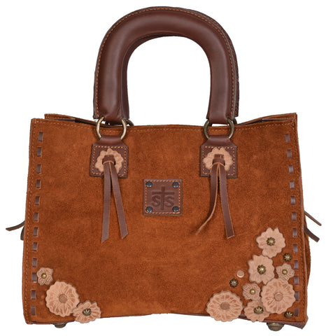 STS Ranchwear Sheridan Flower Satchel Ladies Suede Handbag Rust