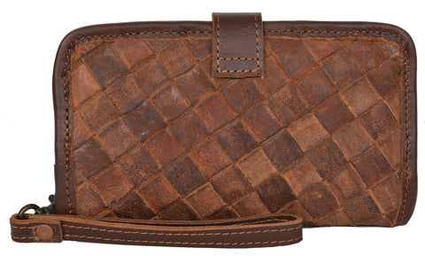 STS Ranchwear Basket Weave Crossbody Wallet Mens Leather Bag Teak