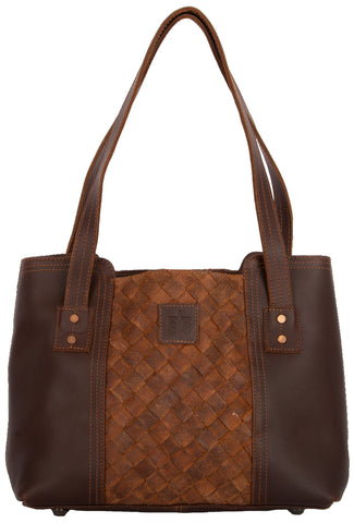 STS Ranchwear Basket Weave Small Tote Mens Leather Teak Brown