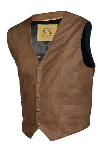 STS Ranchwear Mens Chisum Leather Vest Antique Brown Classic