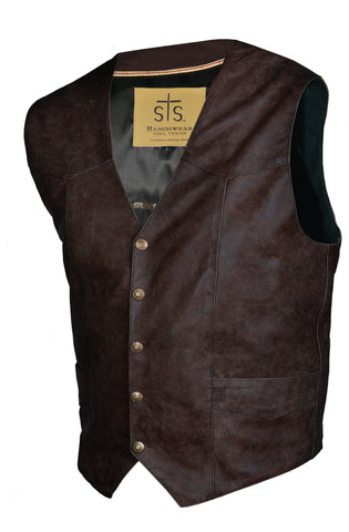 STS Ranchwear Mens Chisum Leather Vest Brandy Classic