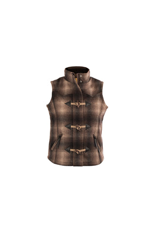 STS Ranchwear Ladies Willow Wool Vest Brown Plaid Western
