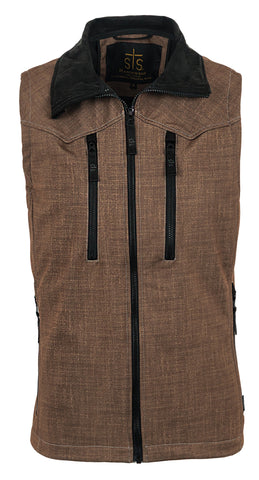 STS Ranchwear Mens Performance Softshell Vest Heather Brown WR