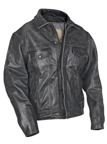 STS Ranchwear The Maverick Mens Leather Jacket Rustic Rawhide Black