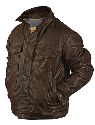 STS Ranchwear The Maverick Mens Leather Jacket Brown Angus