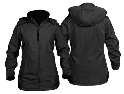 STS Ranchwear Ladies Barrier Polyester Softshell Jacket Black Hooded