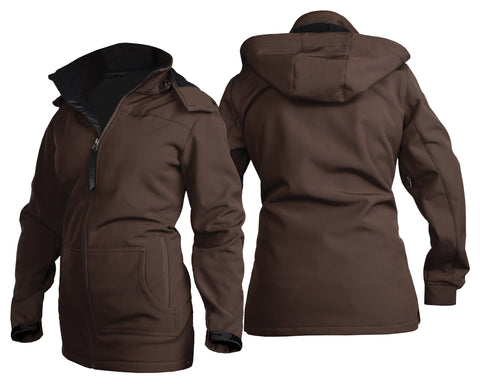 STS Ranchwear Ladies Barrier Polyester Softshell Jacket Brown Hooded