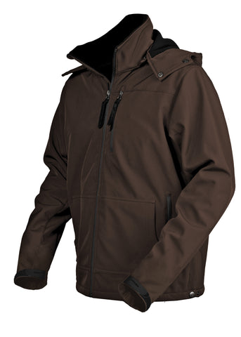 STS Ranchwear Mens Barrier Polyester Softshell Jacket Brown Hooded