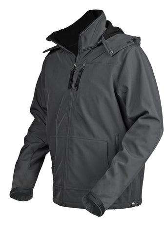 STS Ranchwear Mens Barrier Polyester Softshell Jacket Grey Hooded