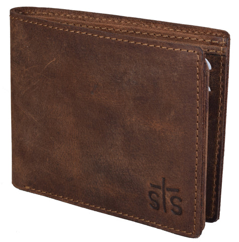 STS Ranchwear Mens Foremans Bifold Leather Wallet Distressed Brown 4.5x3.5