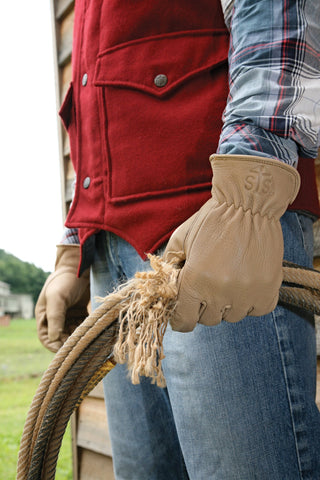 STS Ranchwear Unisex Buckskin Color Soft Leather Gloves