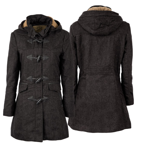STS Ranchwear Ladies Paddington Wool Blend Long Coat Black Tweed