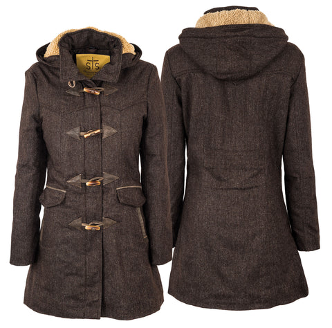 STS Ranchwear Ladies Paddington Wool Blend Long Coat Brown Tweed