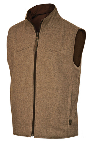 STS Ranchwear Mens EWING Reversible Dark Fawn Wool & Softshell Vest