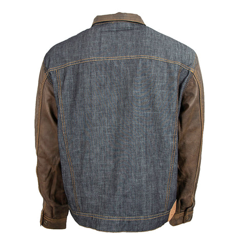 STS Ranchwear Mustang Jacket Mens Leather Denim/Tobacco Brown