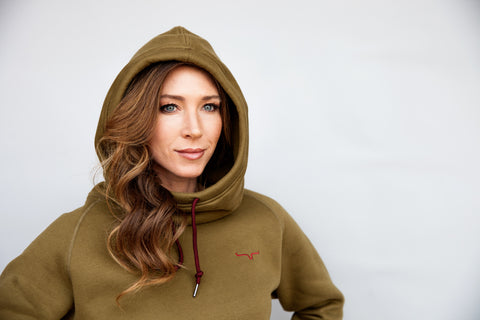Kimes Ranch Womens Scooper Hoodie Olive Fleece Cowl Neck