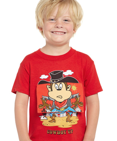 Cowboy Up Toddler Boys Red Cotton S/S T-Shirt Monkey Sheriff