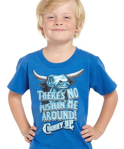 Cowboy Up Toddler Boys Blue Cotton S/S T-Shirt Pushing Me Around