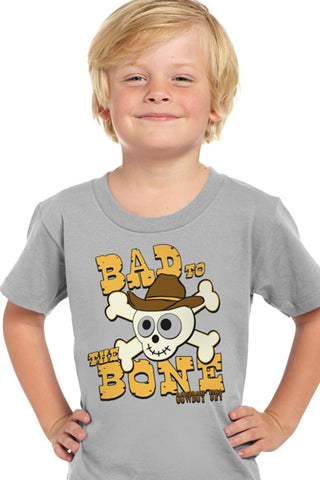 Cowboy Up Toddler Boys Gray Cotton S/S T-Shirt Bad to the Bone
