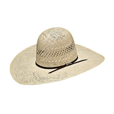 Twister Natural Straw Leatherette Open Hat