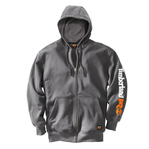 Timberland Pro Honcho Full-Zip Hoodie Mens Charcoal Cotton Blend Fleece