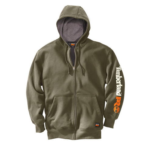 Timberland Pro Honcho Full-Zip Hoodie Mens Burnt Olive Cotton Blend Fleece
