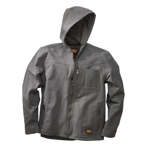 Timberland Pro Power Zip Hooded Softshell Jacket Mens Pewter Nylon