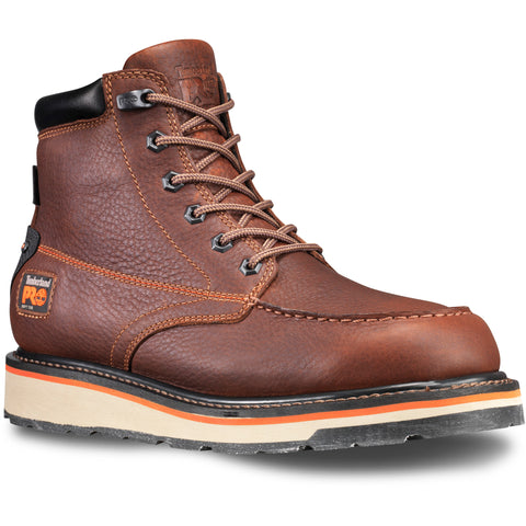 Timberland Pro Gridworks 6in Soft Toe Mens Red Brown WP Leather Work Boots