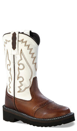 Old West White Childrens Girls Oiled Leather Flexi Tubbies Cowboy Boots