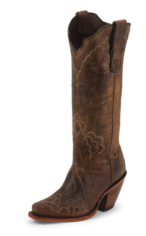 Tony Lama Womens Tan Saigets Worn Goat Leather 15in Western Boots