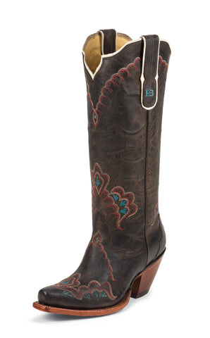 Tony Lama Womens Chocolate Saigets Worn Goat Leather 15in Western Boots