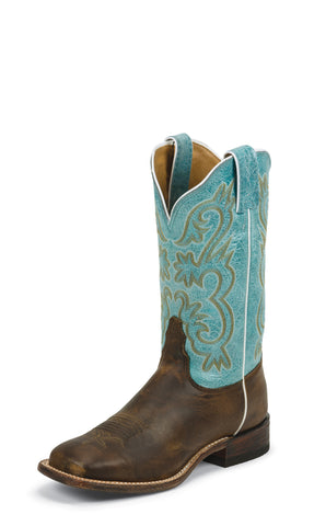 Tony Lama Womens Tan Worn Goat Leather Americana Teal Western Boots